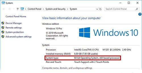 Тип системы Windows 10