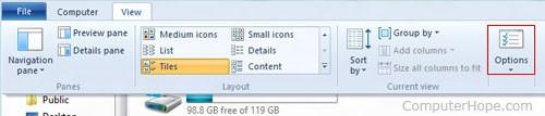 Параметры папки Windows 8