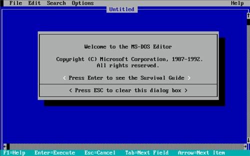 Окно команд редактирования MS-DOS