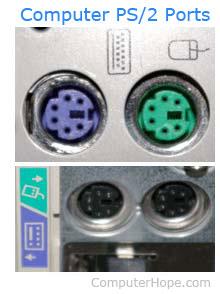 Зеленый и фиолетовый порты PS / 2 для клавиатуры и мыши.