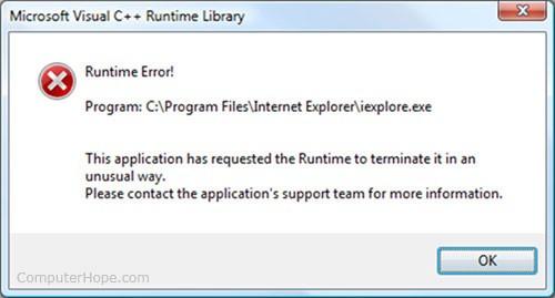 Ошибка выполнения Windows