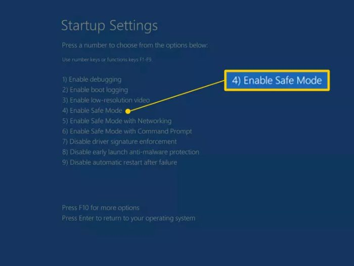 Запуск безопасного режима в Windows 10