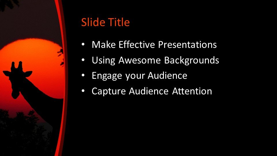 Шаблоны слайдов Powerpoint - Жираф